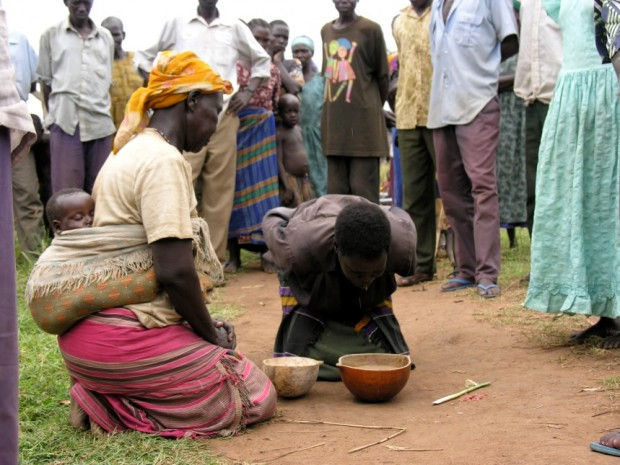 Women participating in a mato oput ceremony in Acholi