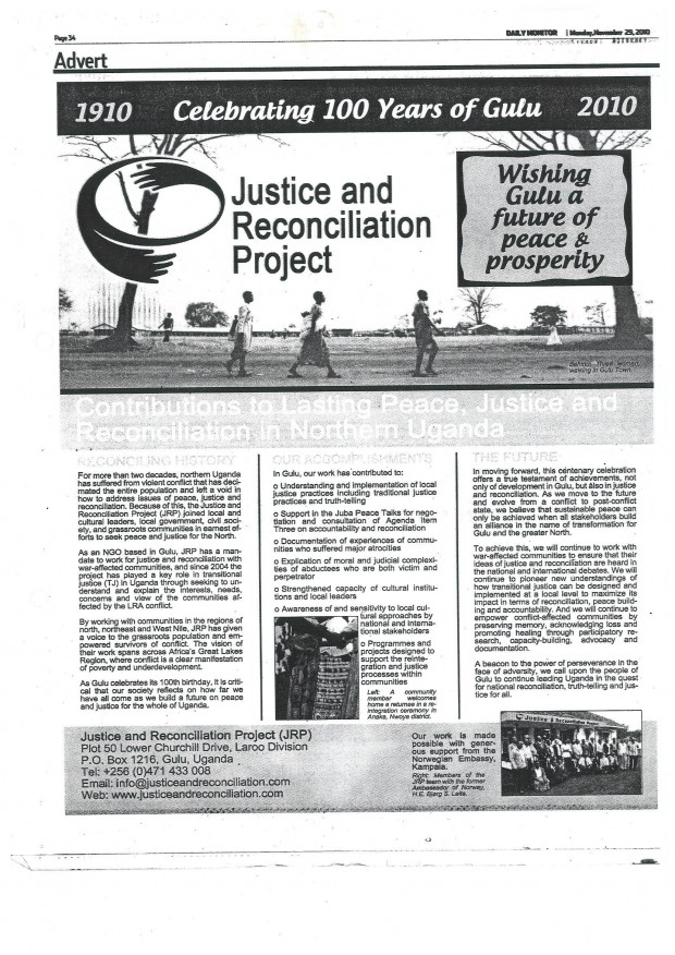 """""""Celebrating 100 Years of Gulu: Contributions to Lasting Peace, Justice and Reconciliation in Northern Uganda,"""" Supplement in Daily Monitor, 29 November 2010"""