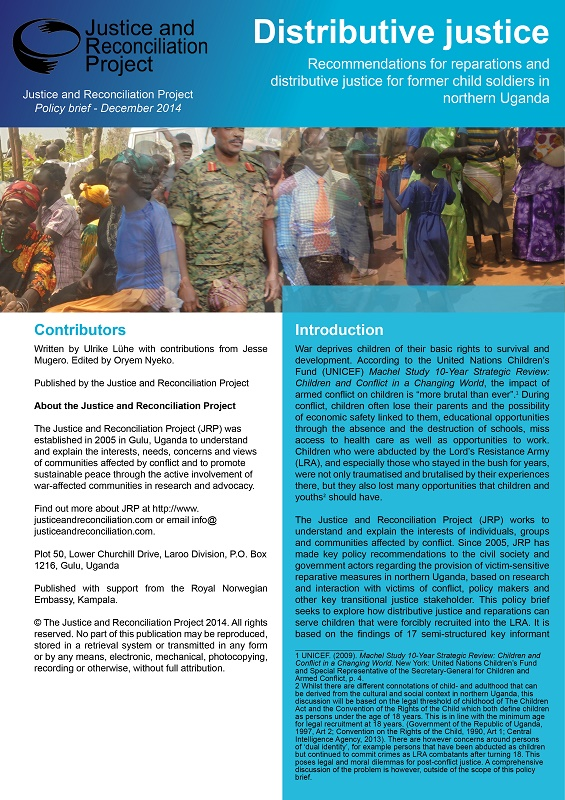 Distributive Justice - Recommendations for reparations for former child soldiers