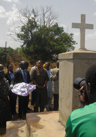 ICC Prosecutor, Fatou Bensouda, visits the the memorial site for the Lukodi massacre of 2004.