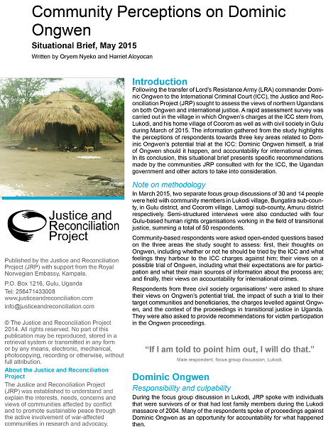 Community Perceptions on Dominic Ongwen, Situational Brief, May 2015