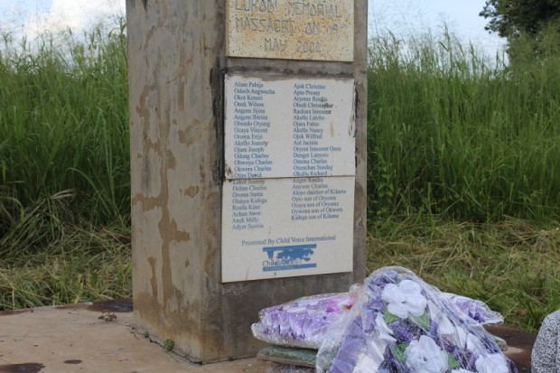 The memorial site for the Lukodi massacre of 2004. JRP.