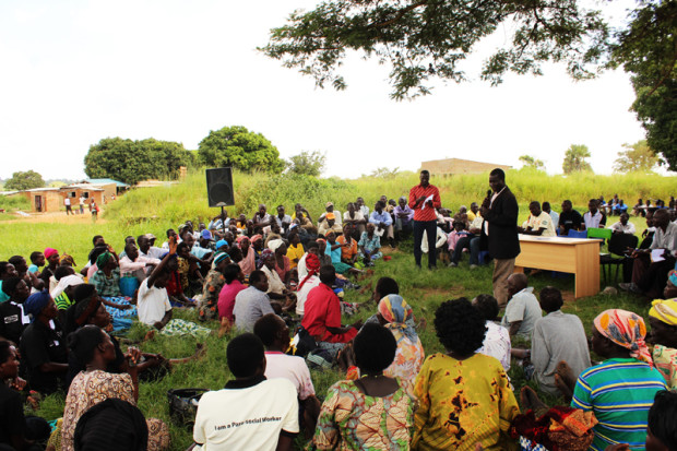 Lamogi sub-county official speaks during a community dialogue with the families of missing persons in Amuru on 26 August 2015.