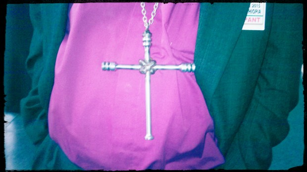 Bishop Dinis Salomao Sengulane of Mozambique wears a cross made from the remains of weapons used during war.