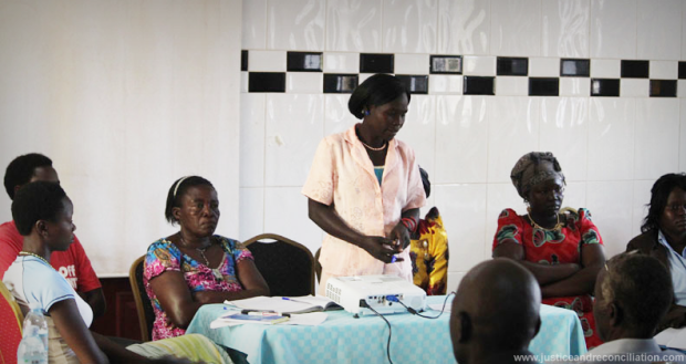Members of the Women's Advocacy Network present during a dialogue between war-affected women and cultural leaders on the reintegration of children born of war in northern Uganda, held in Gulu on 28 April 2016.