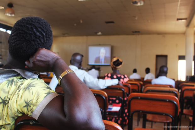 People watch Dominic Ongwen's trial at the International Criminal Court in Gulu, 16 January 2017. Credit: Oryem Nyeko.