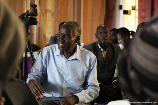 Rwot Jeremiah Bongojane speaks during a cultural leaders dialogue between survivors of conflict-SGBV and cultural leaders from across northern Uganda on 28 April 2016 in Gulu.